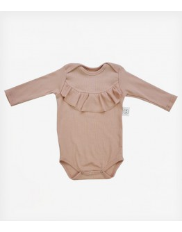 Ribbed Bodysuit Frill Black 100% Organic Cotton