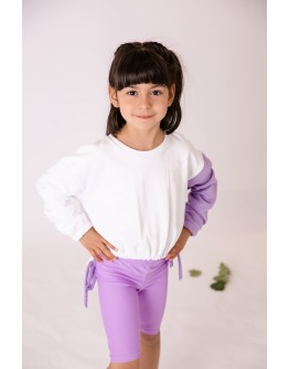 Baby sweatshirt with lilac sleeves