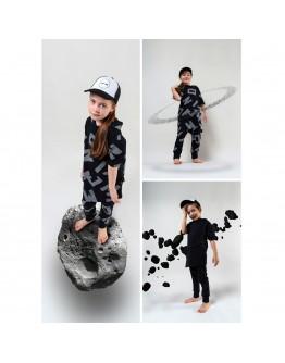 Asymmetrical t-shirt set with trousers black letters MOI NOI