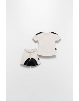 T-shirt set with trousers grey letters MOI NOI